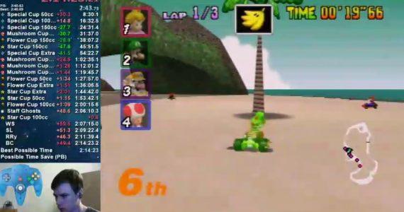 Un Speedrunner está tratando de destruir todos los árboles en Mario Kart 64-GamersRd