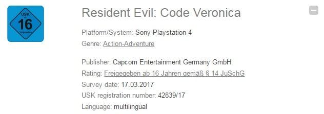 Resident Evil Code Veronica aparece listado para PlayStation 4-GamersRD