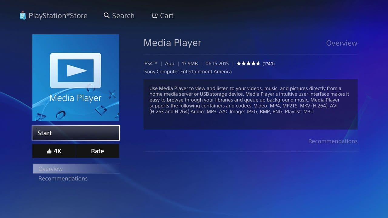 Media Player ha sido actualizado a 4K en PS4 Pro