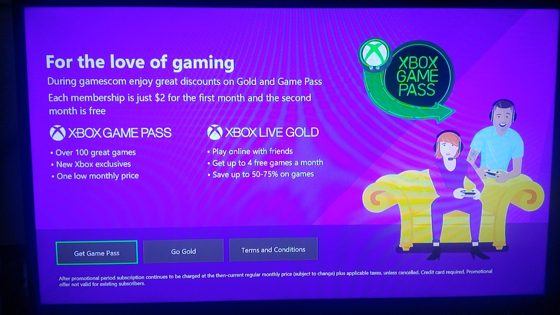 Xbox Game Pass y Live Gold a 2 dólares en lo que dura la GamesCom