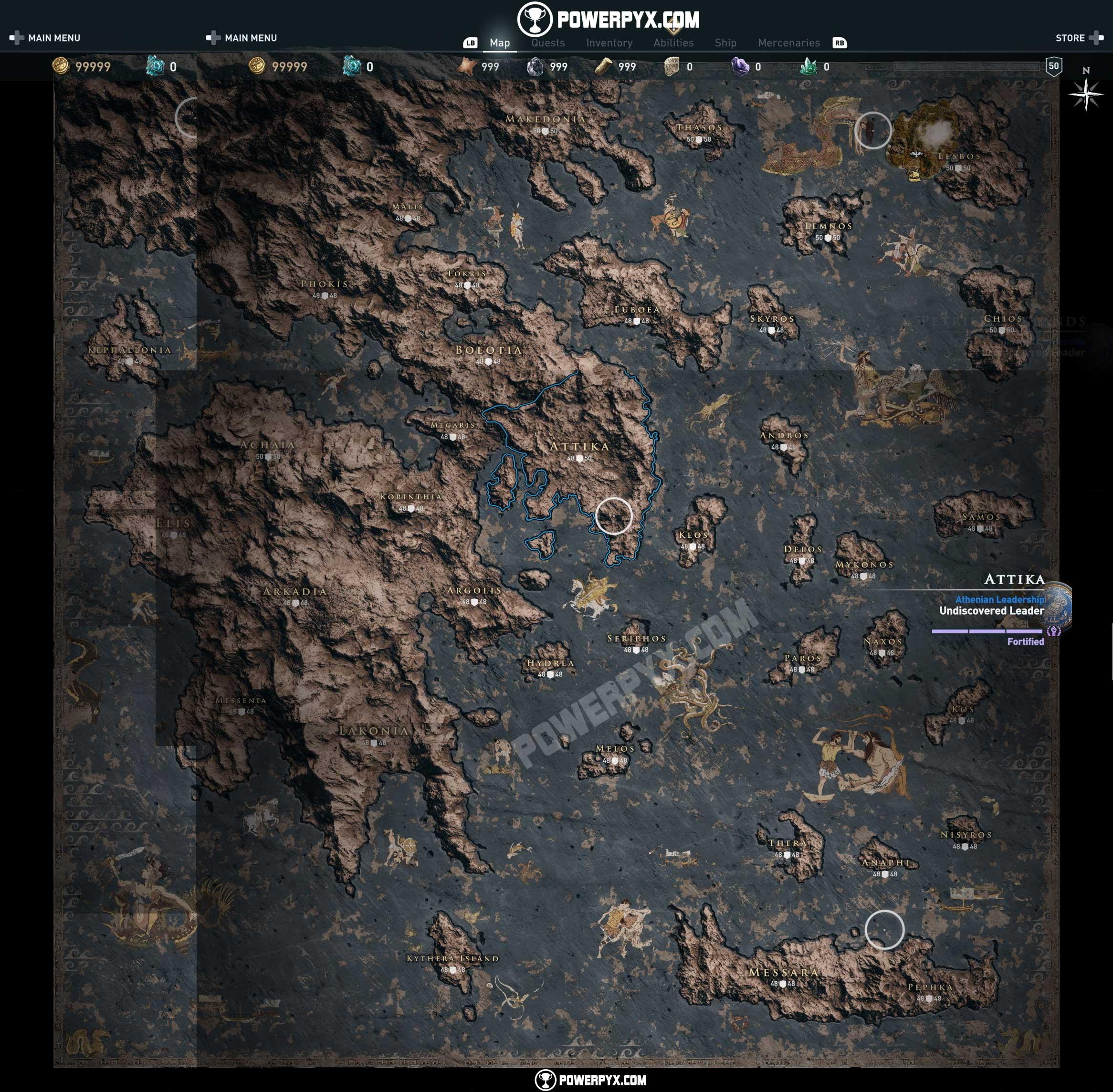 Revelan el mapa completo de Assassin's Creed Odyssey