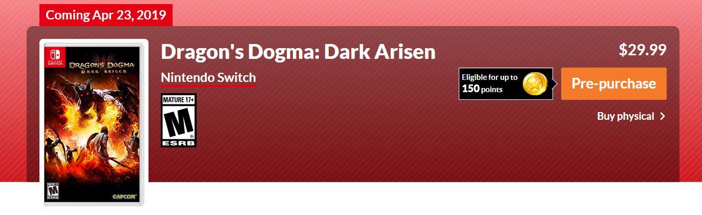 Dragon's Dogma Dark Arisen, Nintendo Switch, GamerSRD