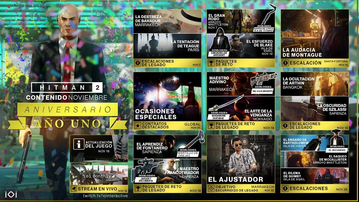 HITMAN 2 celebra el aniversario del primer año con mapa de contenido de noviembre , GamersRD
