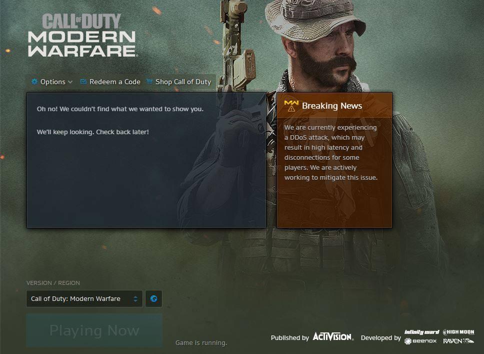 Call of Duty: Modern Warfare sufre ataque DDoS reporta Blizzard