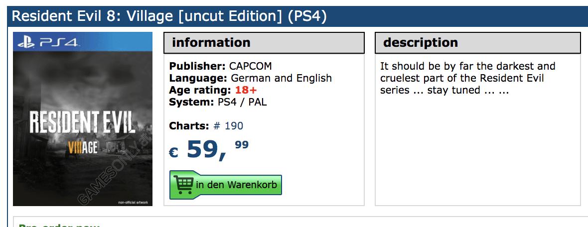 Resident Evil 8 aparece para pre-orden en tienda minorista de Alemania