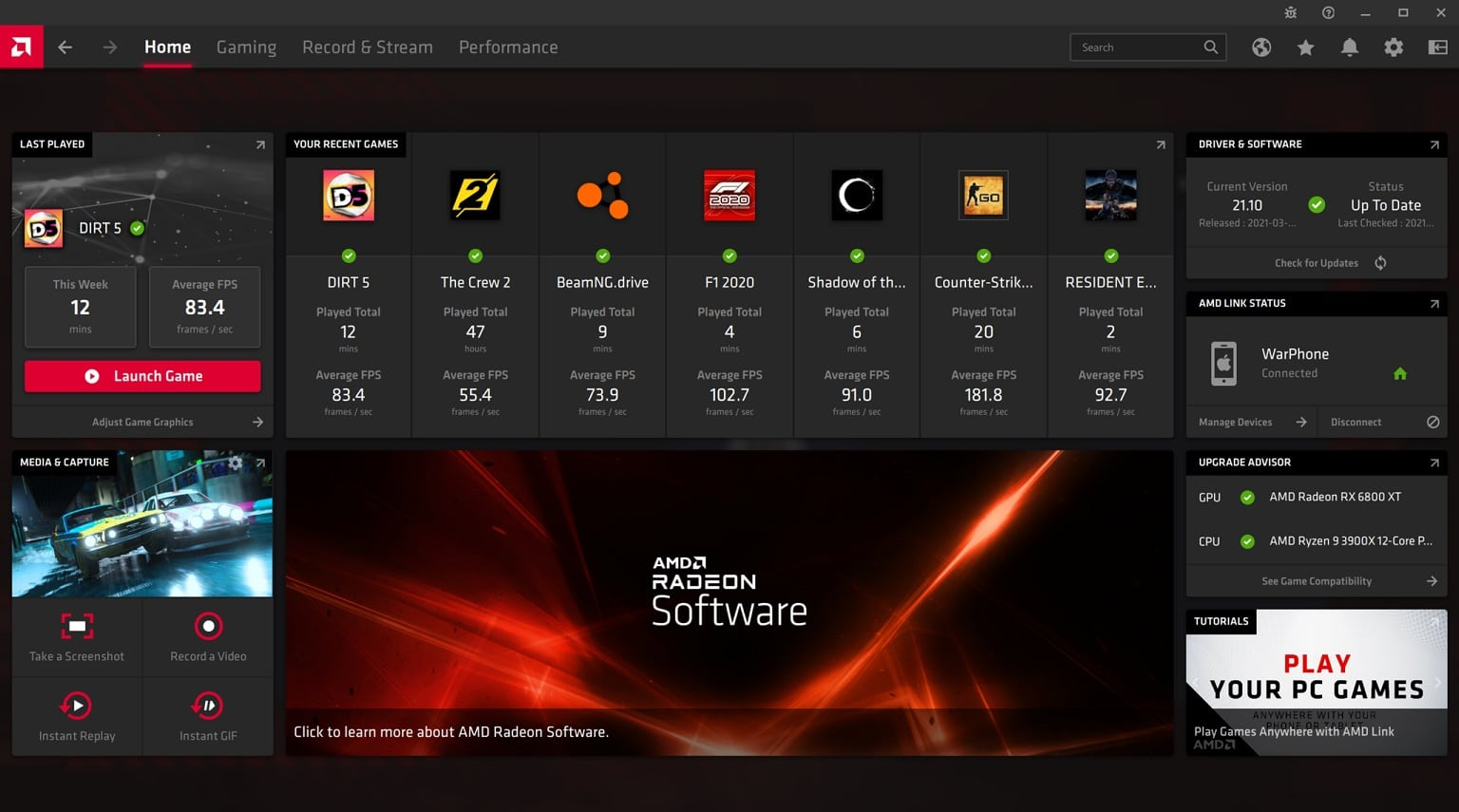 Radeon Software Adrenalin 21.4.1 , GamersRD