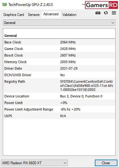 AMD Radeon RX 6600 XT GPU Z, 2 GamersRD