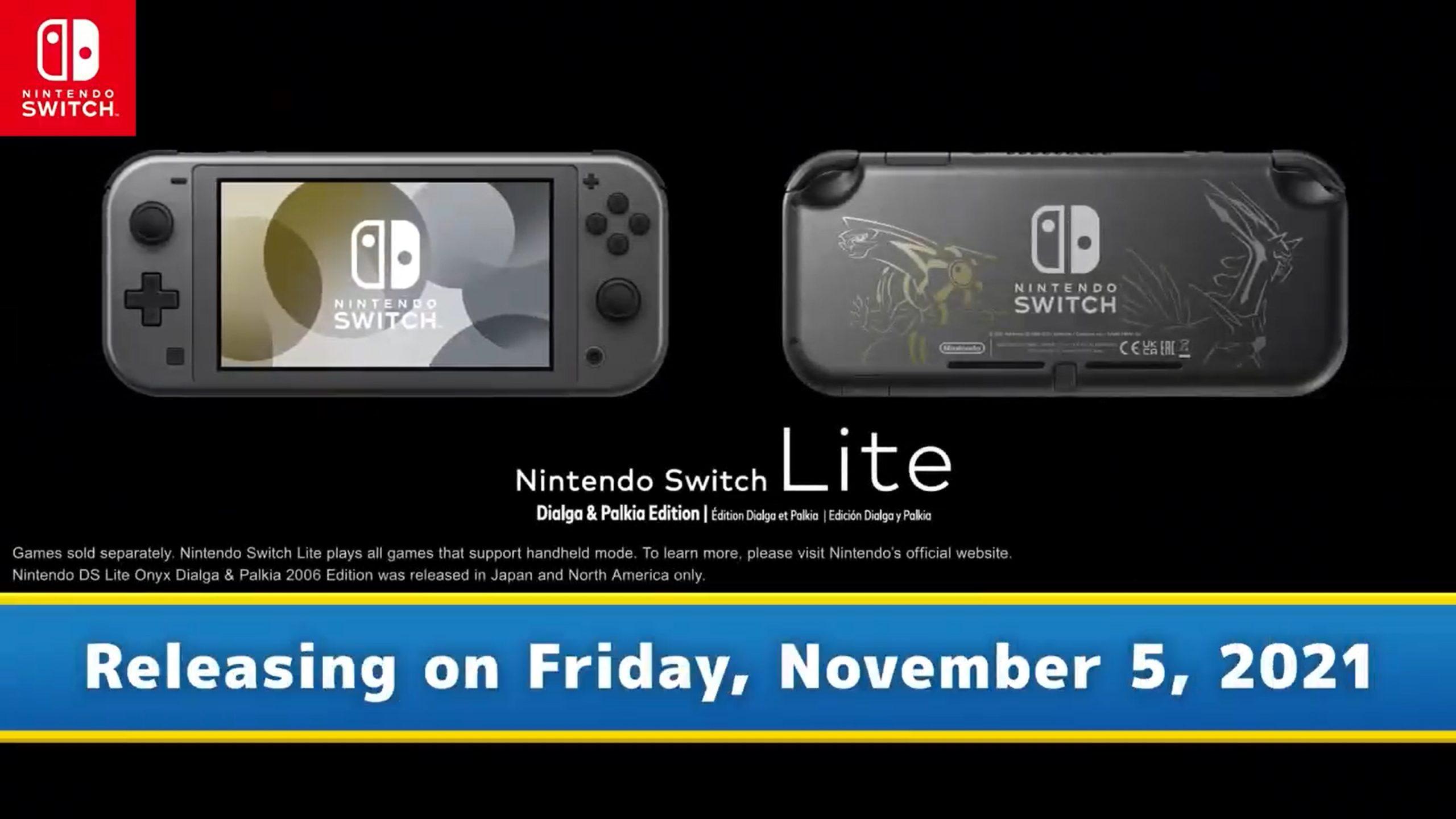 Anuncian un nuevo Nintendo Switch Lite edición Pokémon Dialga & Palkia