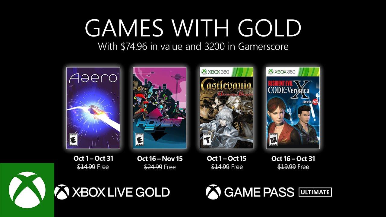 Estos son los juegos con Gold de Xbox Live para Octubre 2021