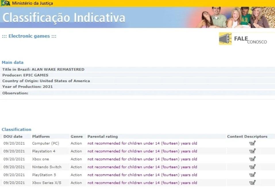 Alan Wake Remastered ha sido calificado para el Switch en Brasil